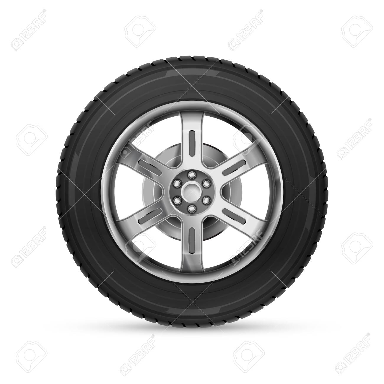 Detailed realistic car wheel isolated on white - 141112165