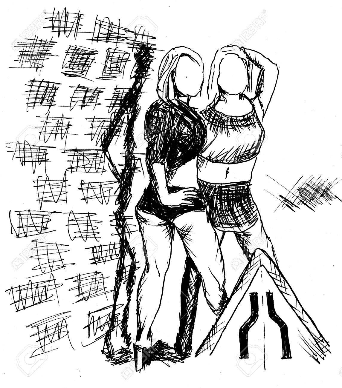 two girls near wall xx Stock Photo - 11486461