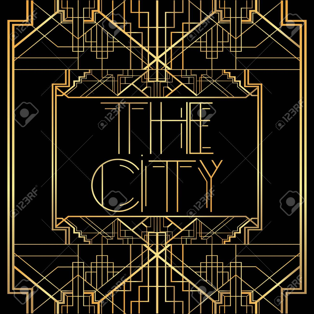 Art Deco The City text. Golden decorative greeting card, sign with vintage letters. - 141917396