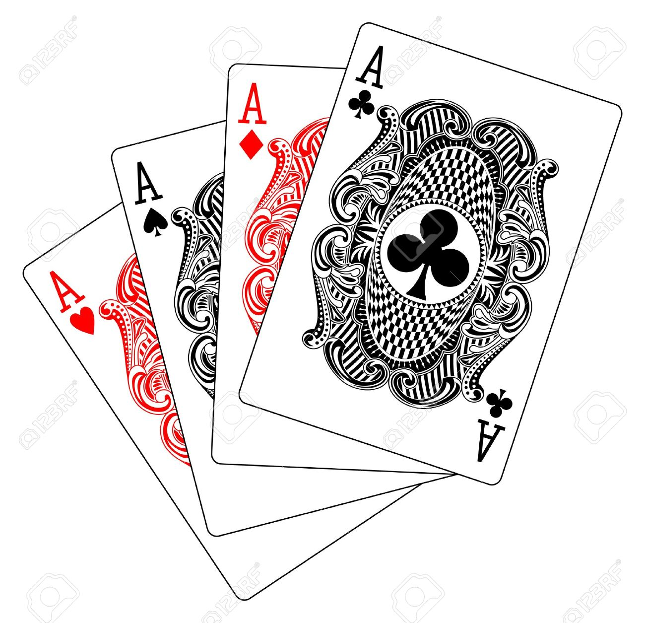 aces poker heart spade diamond club Stock Vector - 10996475