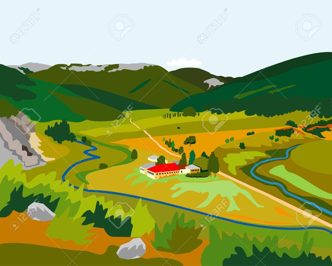 small factory in the mountains Stock Vector - 11072699