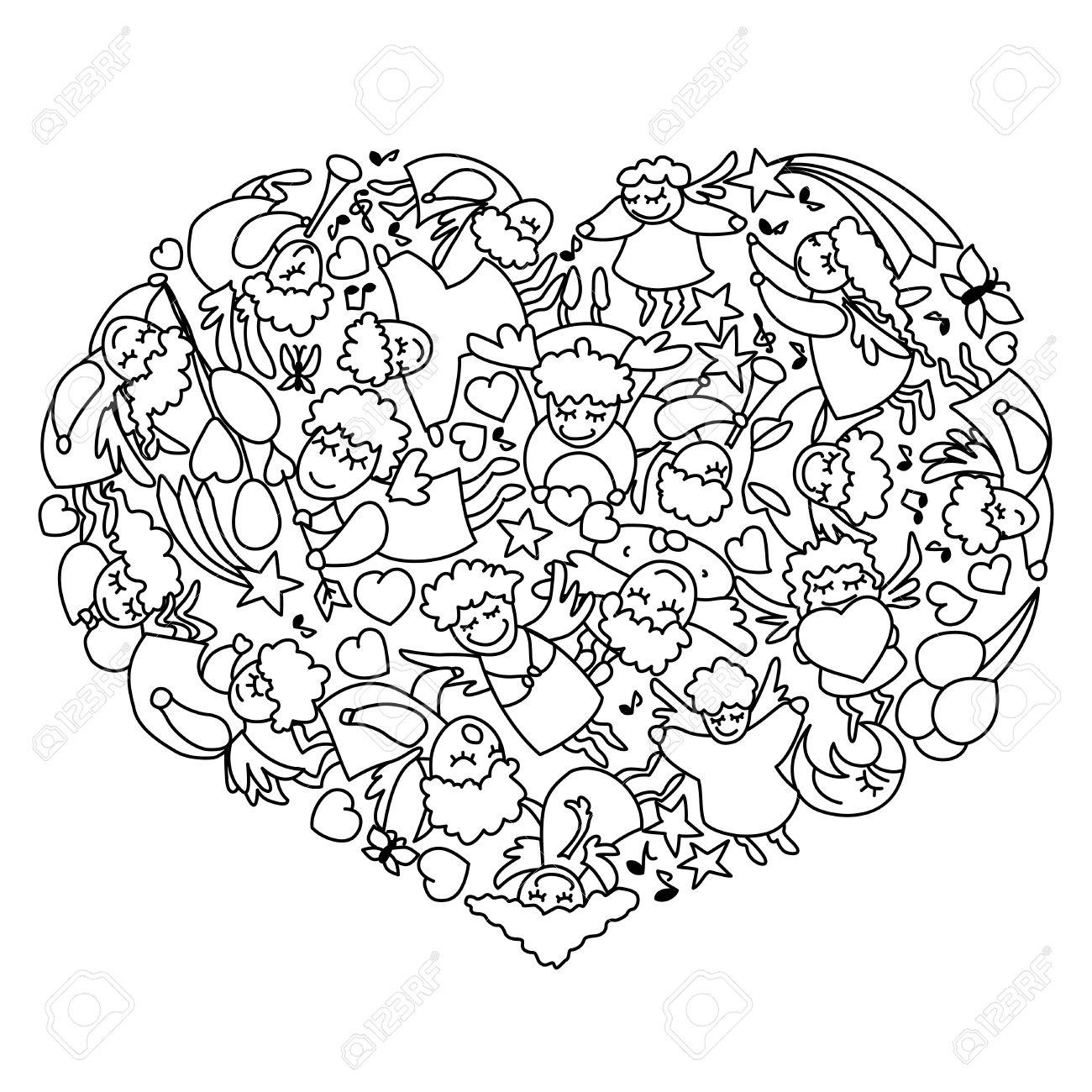 Dibujo Para Colorear Con El Corazón De Los ángeles Blancos Negros Y ...