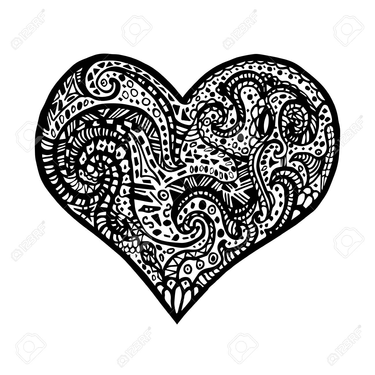 Vector Illustration Of Hand Drawing Heart Card For Saint Valentines