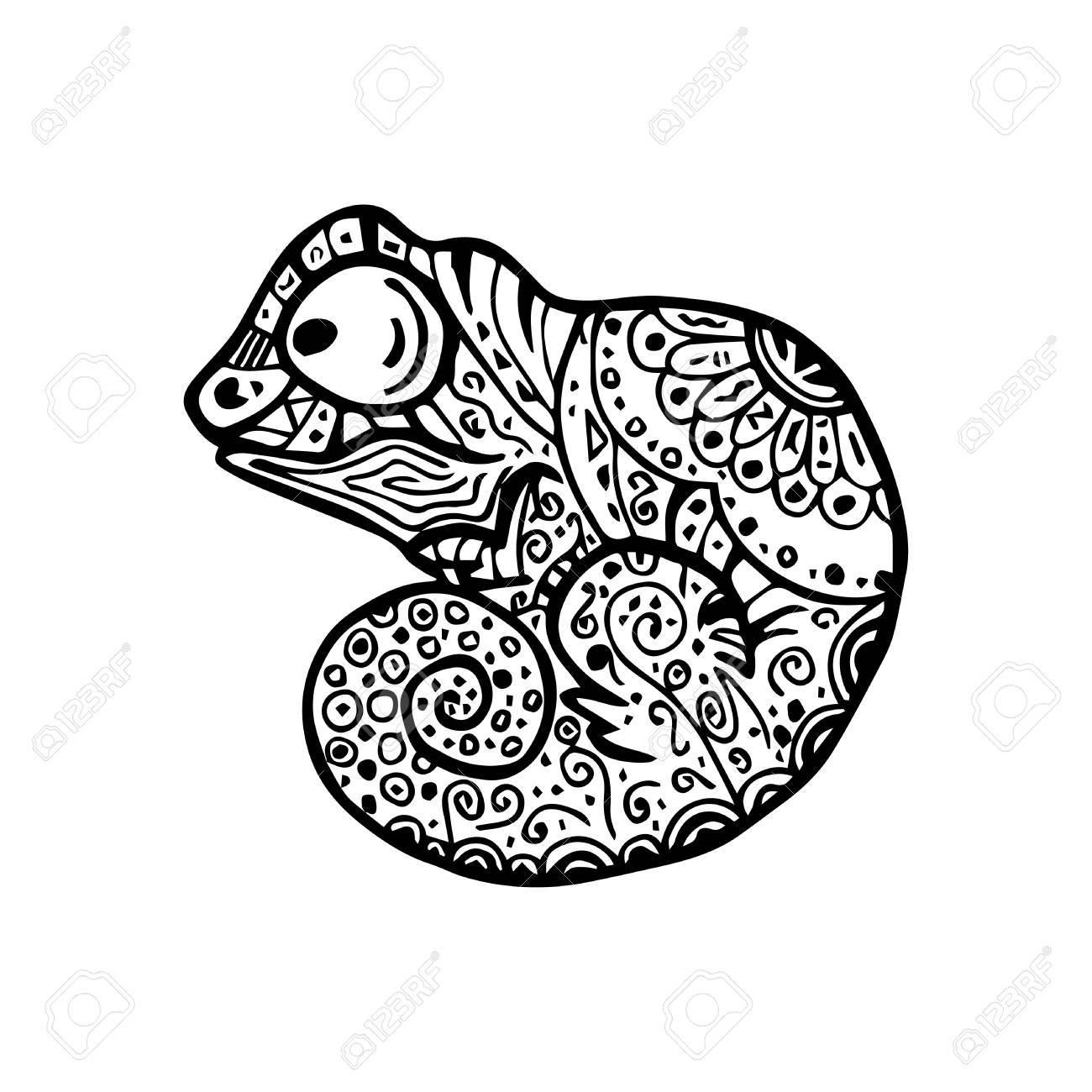 Ilustración Del Vector De Camaleón Con El Patrón Del Doodle. Dibujo ...