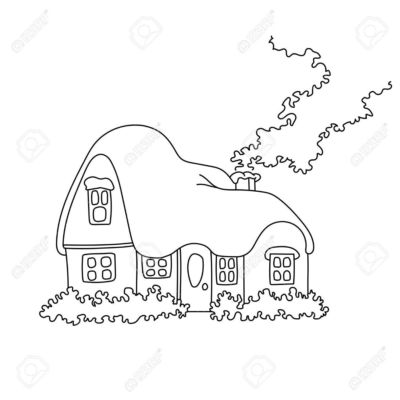illustration of winter home with snow. Coloring book page snowbound..