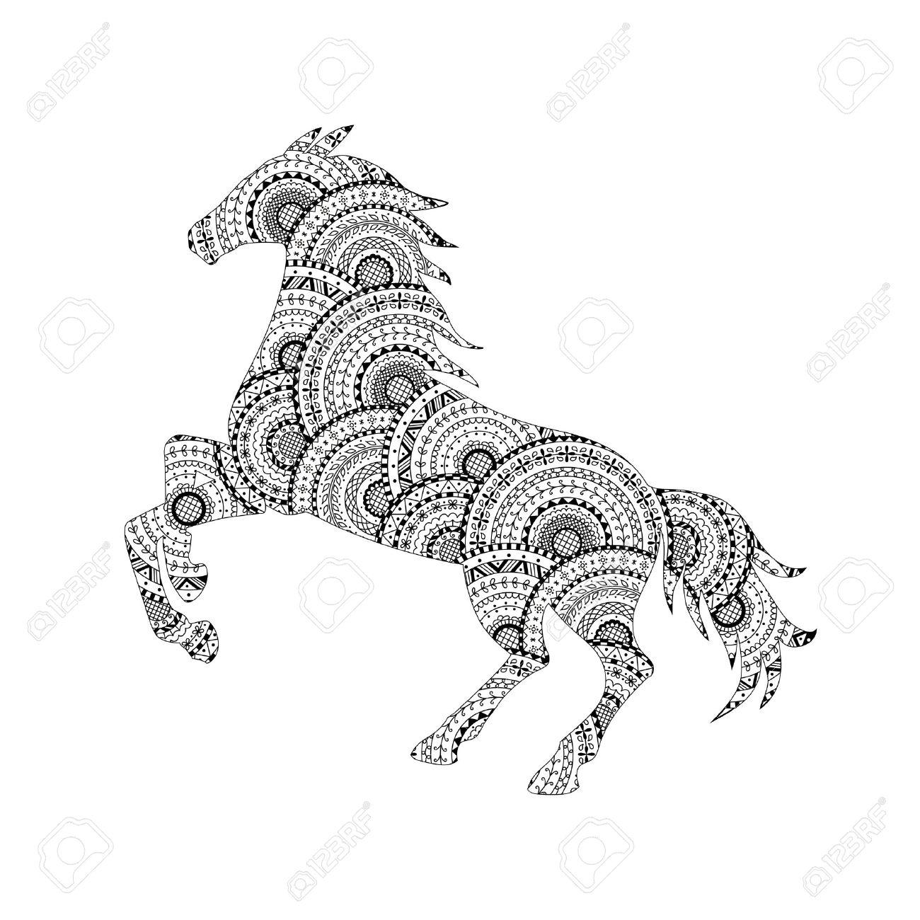 Vektor-Illustration Von Pferd Silhouette Aus Schwarz Und Weiß ...