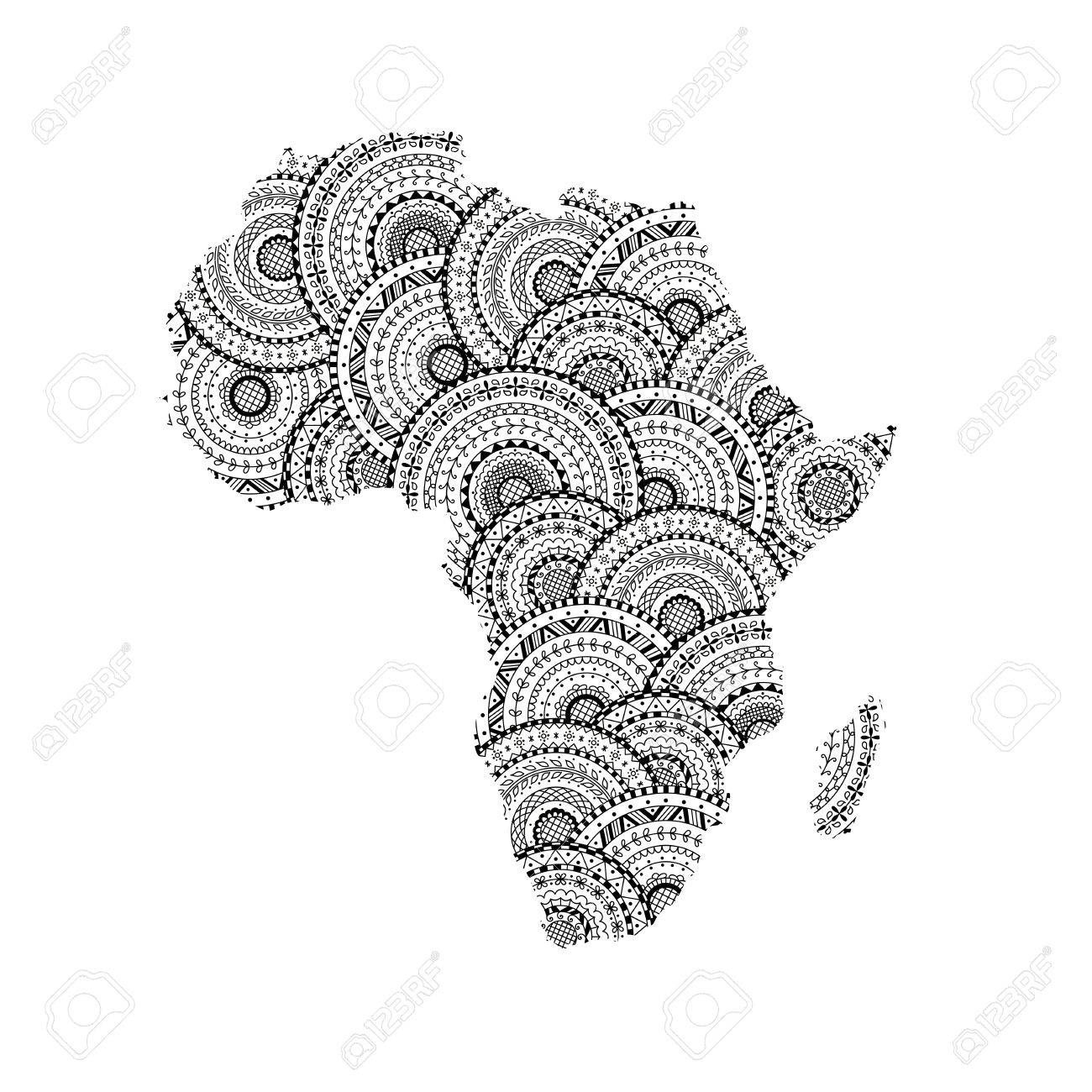 vector silhouette of africa and madagascar map from black and