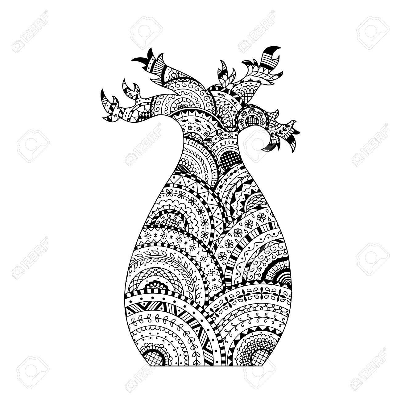 Vector árbol Baobab. Libro De Páginas Para Colorear En Estilo ...