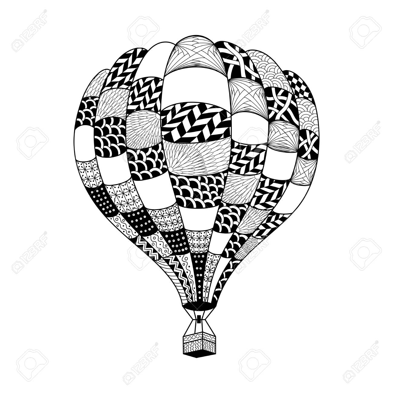 Vector Hot Air Balloon In Zentangle Style Coloring Page Book