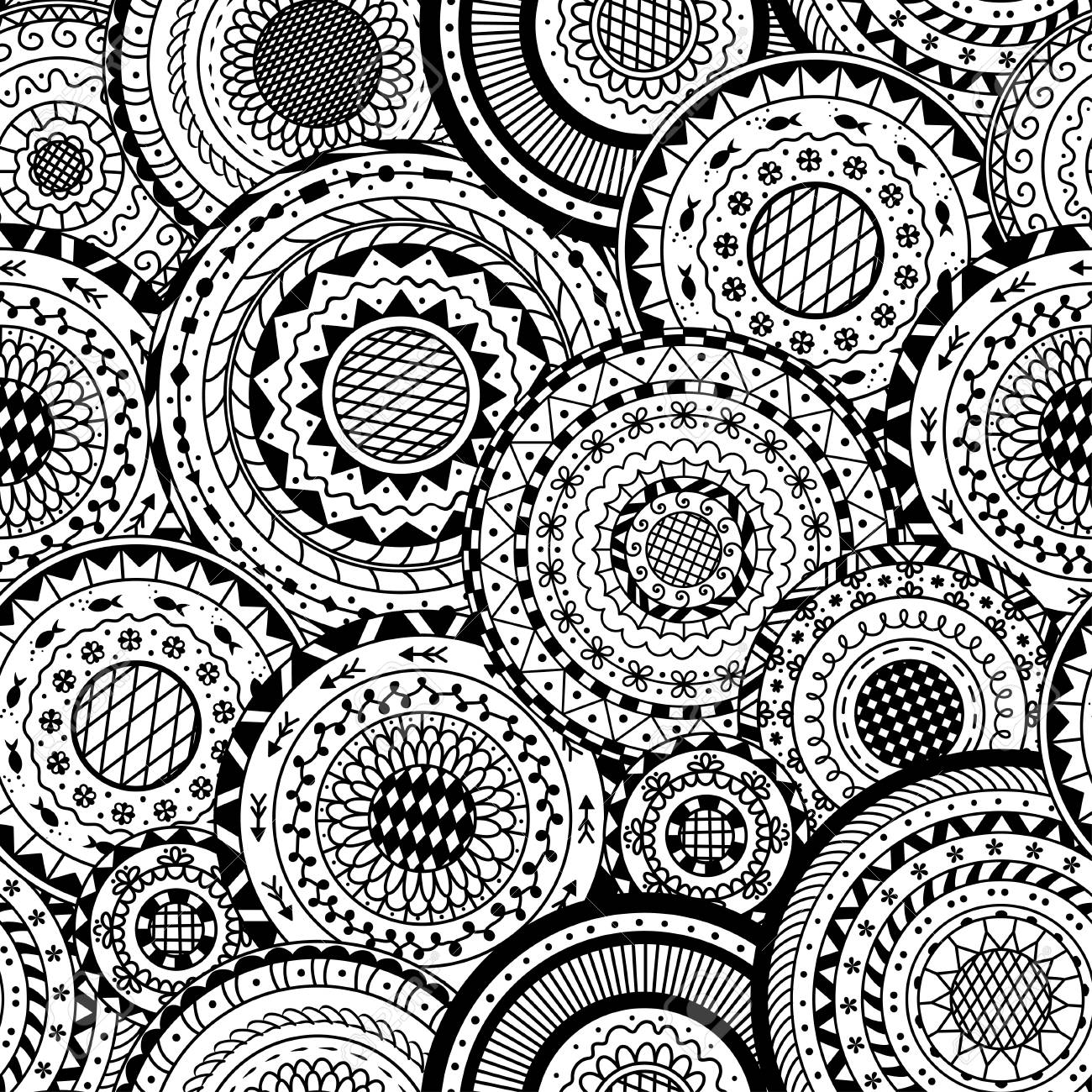 Vector Seamless Pattern From Black And White Round Mandalas