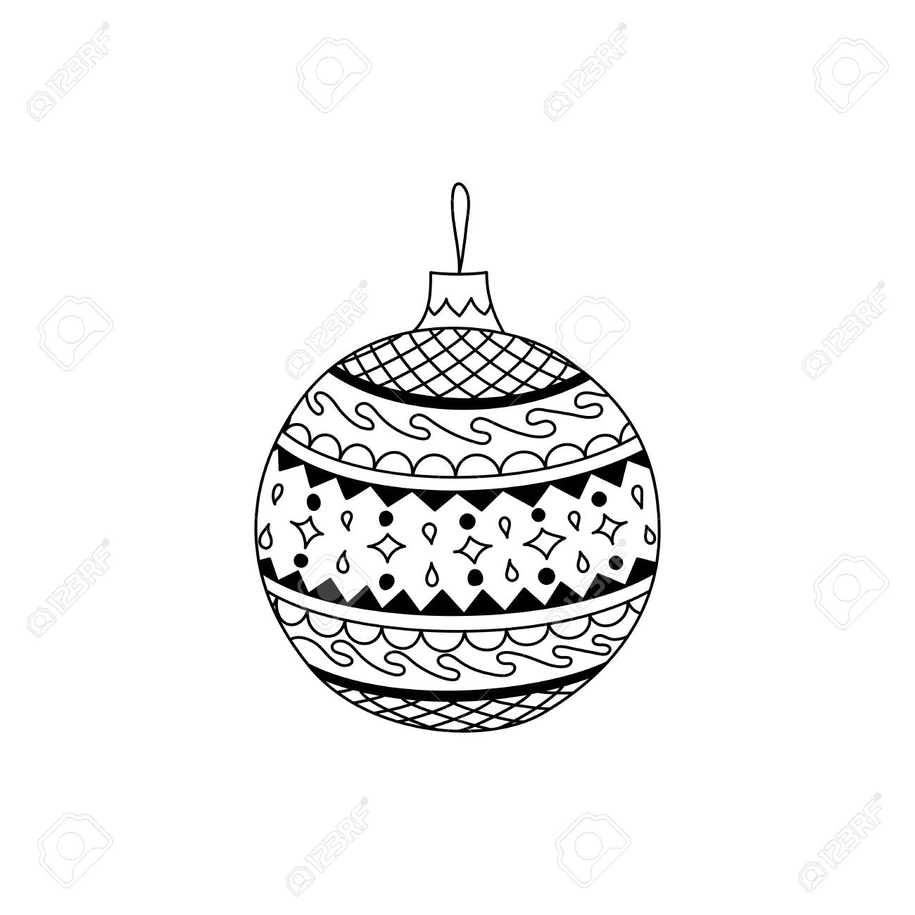 Vector Hand Drawn Christmas Ball Toy Christmas Coloring Page
