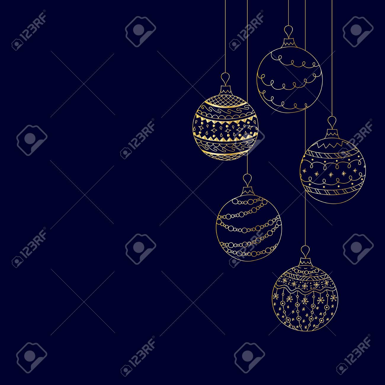 Christmas Invitation Background Gold.Vector Christmas Invitation Card From Five Gold Christmas Ball