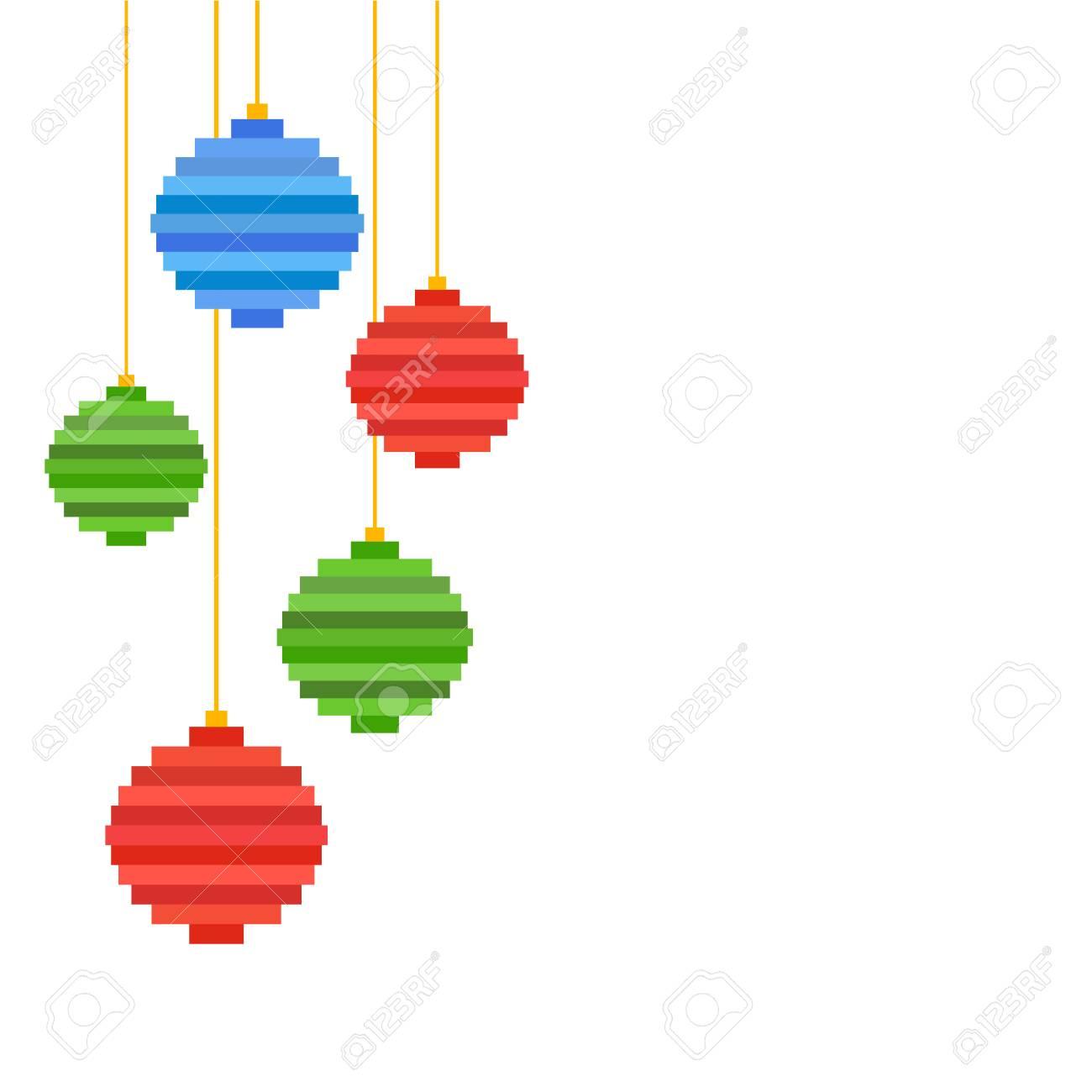 Vecteur Cinq Pixel Art Boule De Sapin De Noël Design Plat Fond De