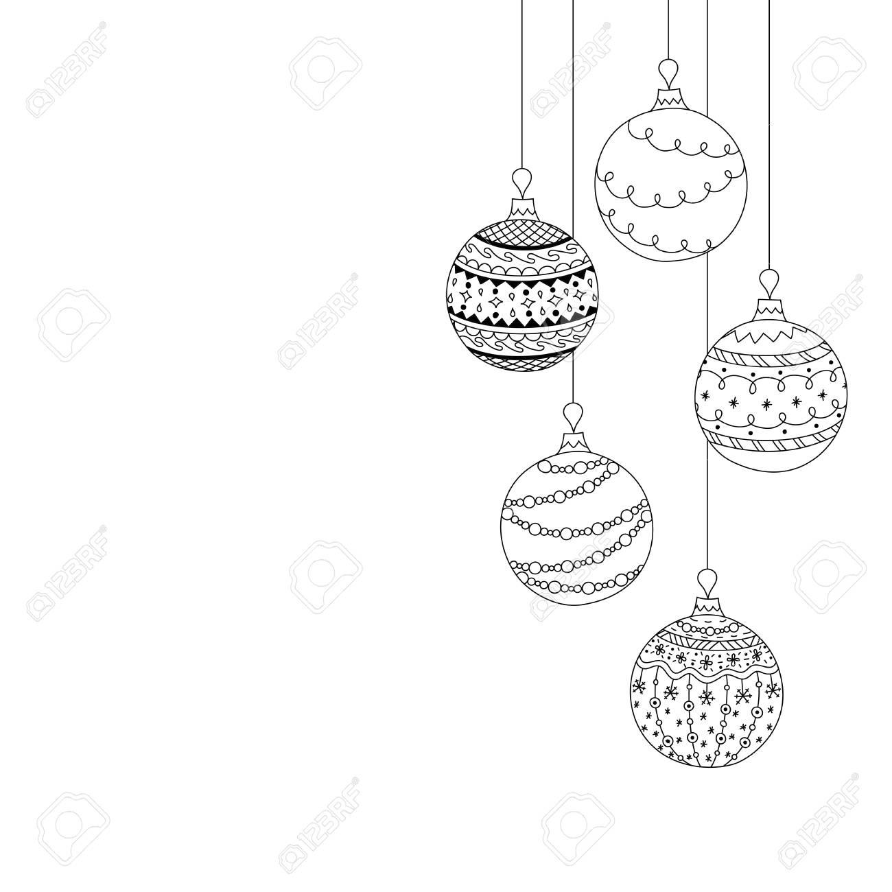 Dessin Boule De Noel.Carte D Invitation De Noël Vector De Cinq Jouets De Boule De Noël Main Dessiner Des Jouets De Boule D Arbre De Noël Noël Livre De Coloriage De