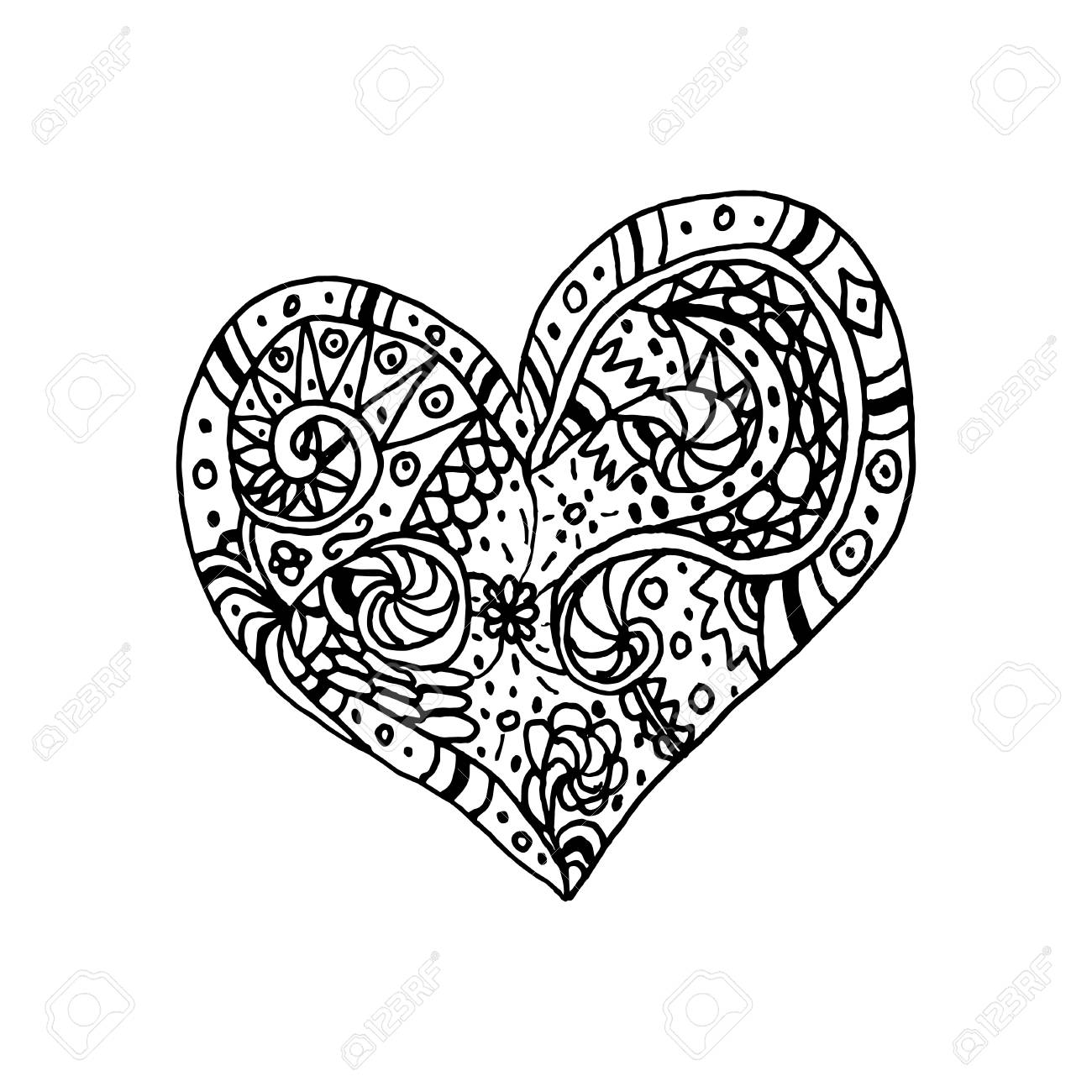 Vector illustration of doodle hand drawn heart. Coloring page..