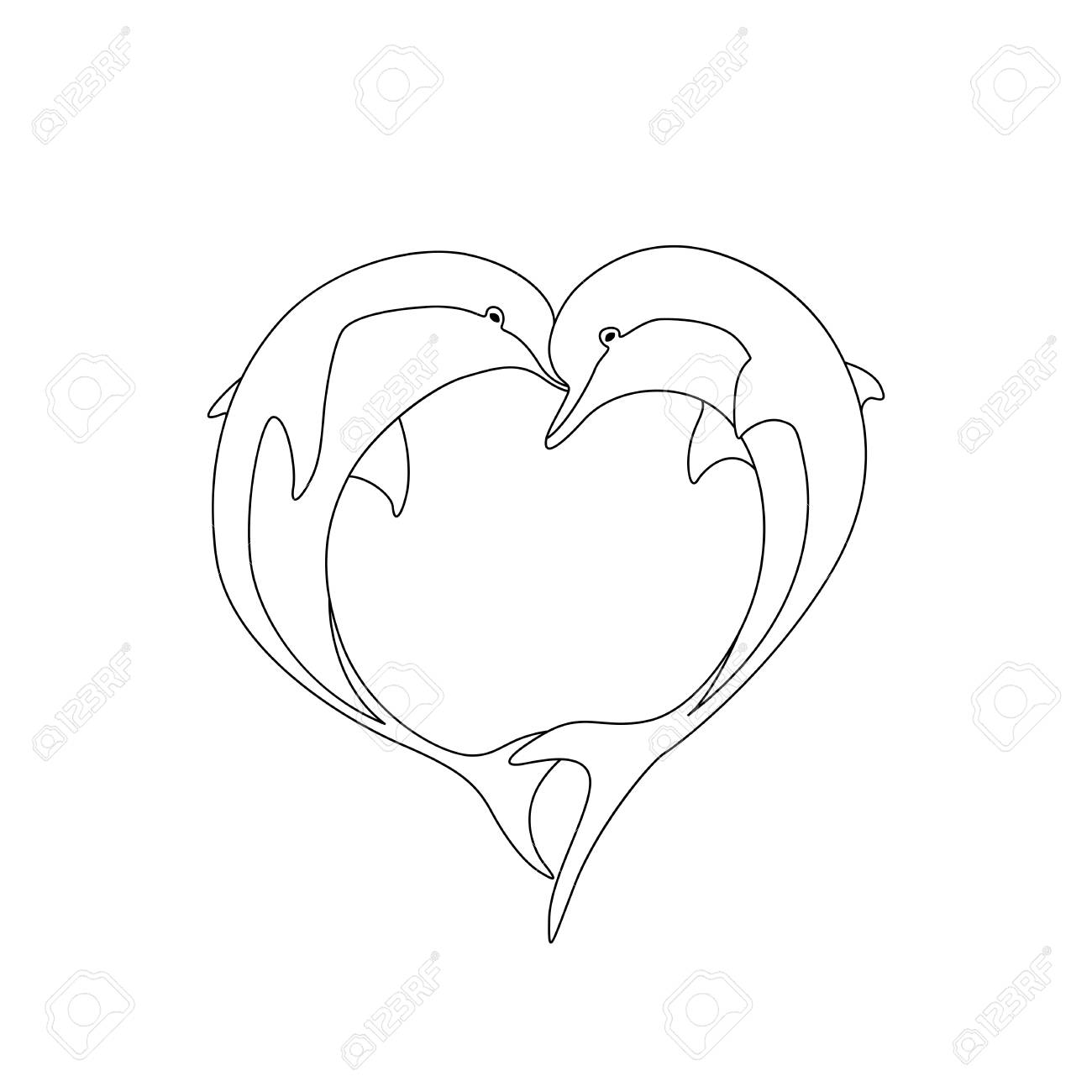 - Vector Contour Of Two Dolphin Couple In Love With Shape Heart