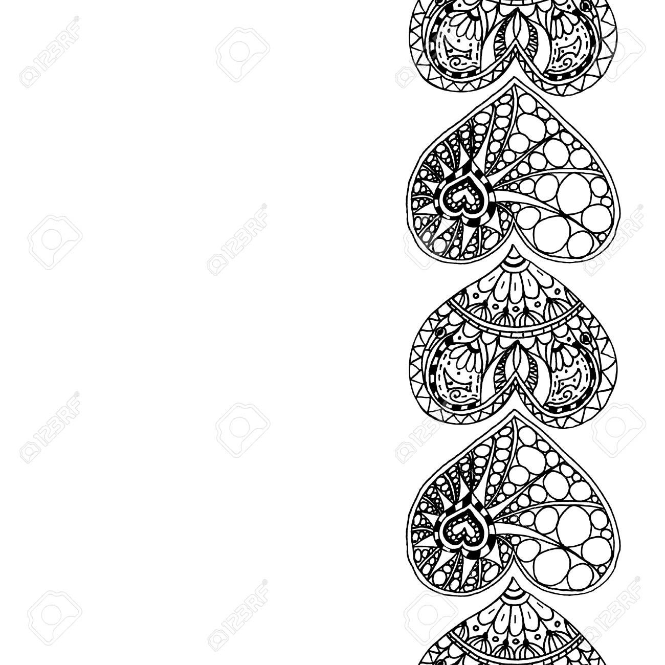Vector Decorative Vertical Border From Black Hand Drawing Hearts