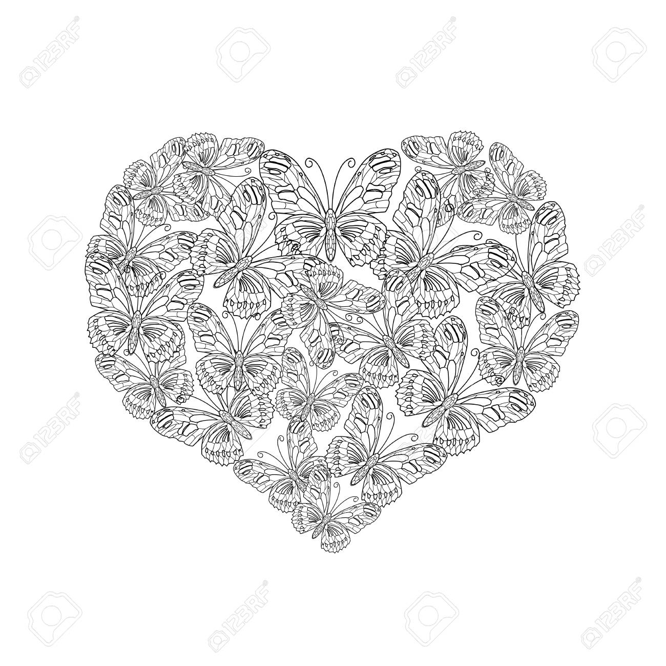 Vector Illustration Of Heart Shape From Black And White Butterfly Royalty Free Cliparts Vectors And Stock Illustration Image 94859053