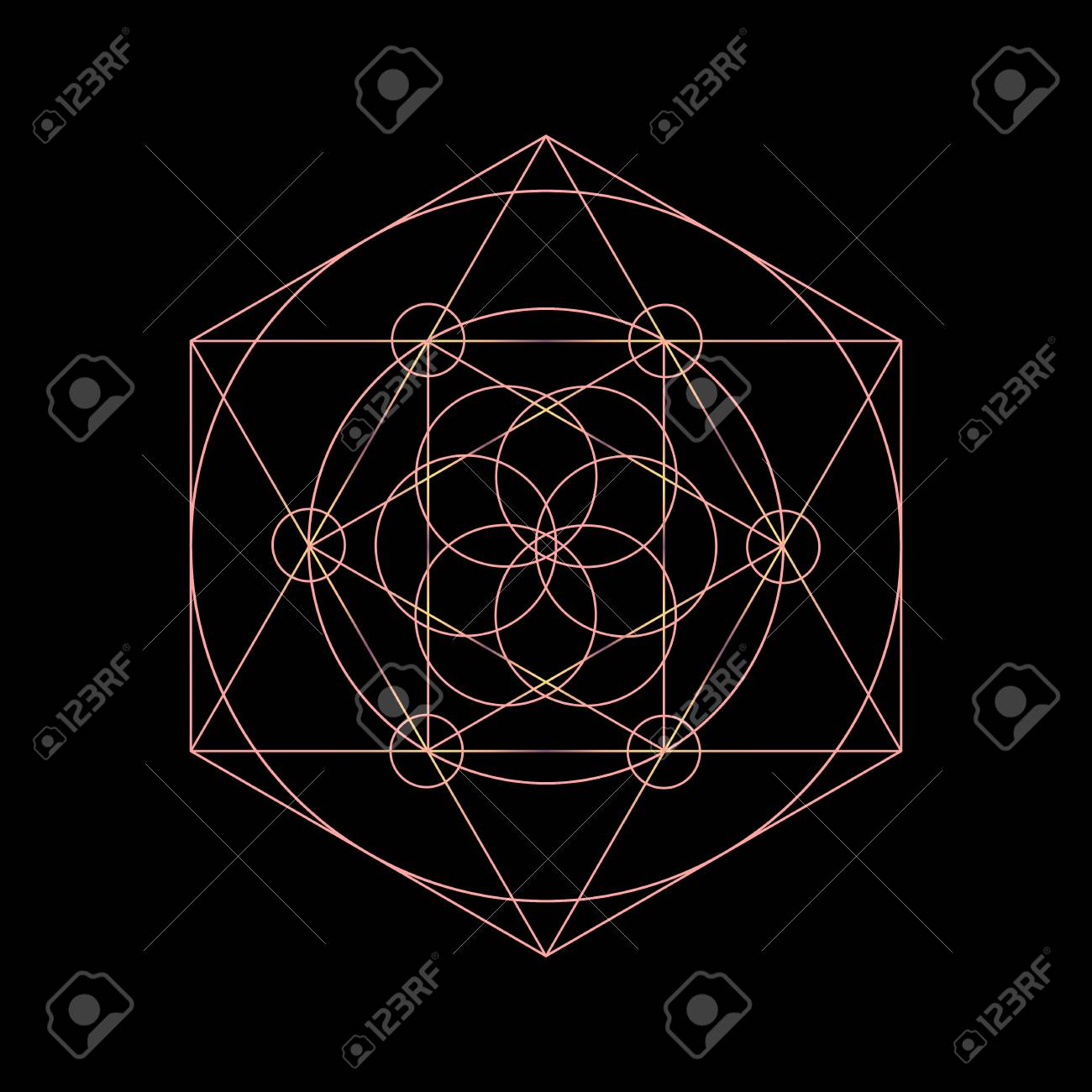 vector sacred geometry symbols with triangle hexagon circle