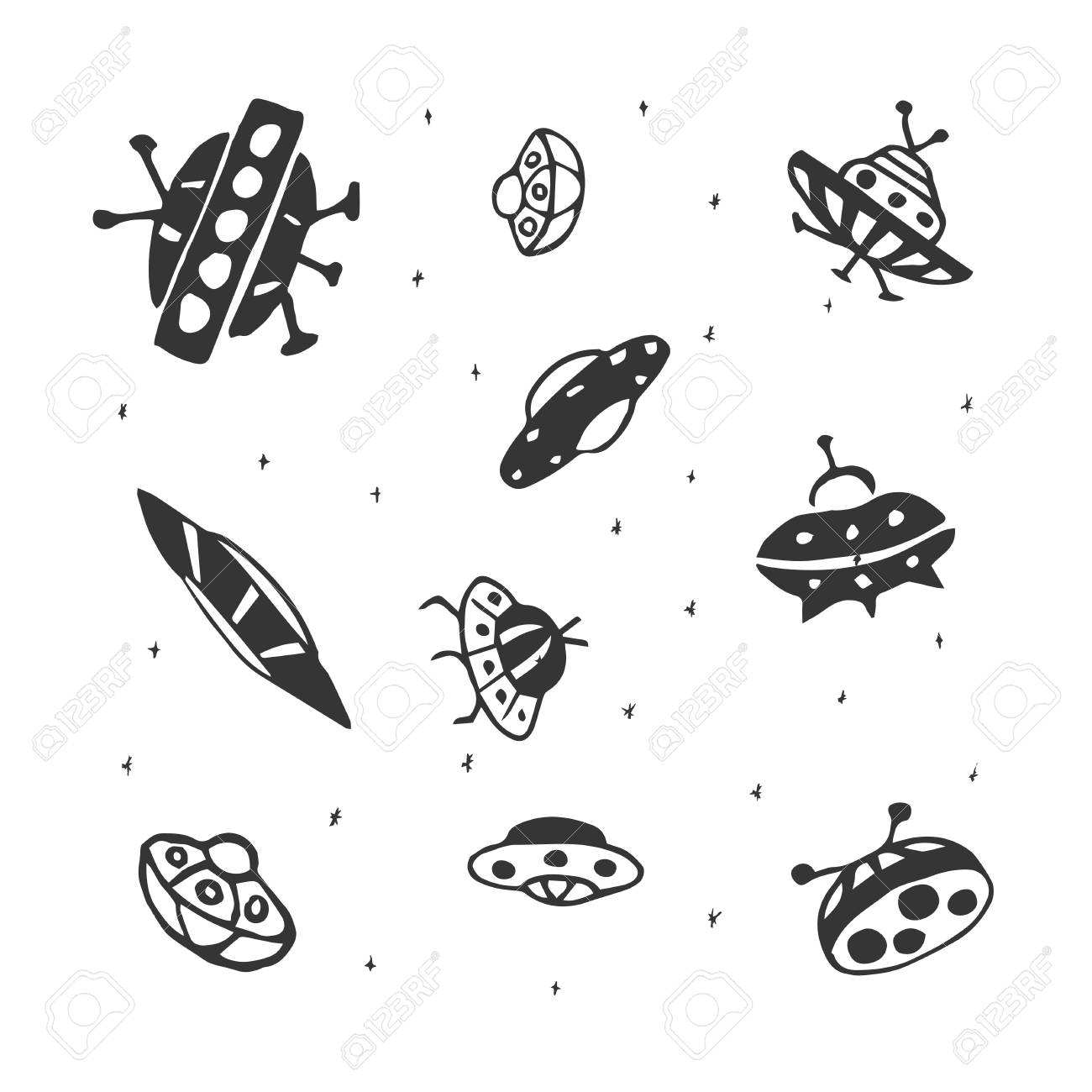 Vector Set Of Hand Drawing Ufo Flying Saucer Royalty Free Cliparts Vectors And Stock Illustration Image 98545693