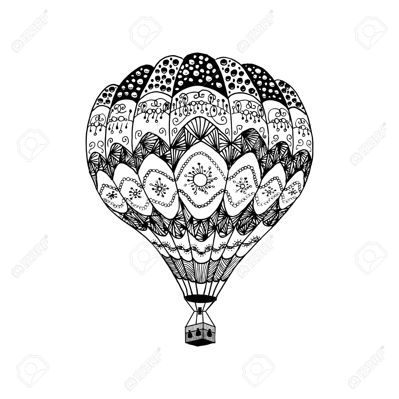 Vector Illustration Of Hot Air Balloon In Zentangle Style Coloring