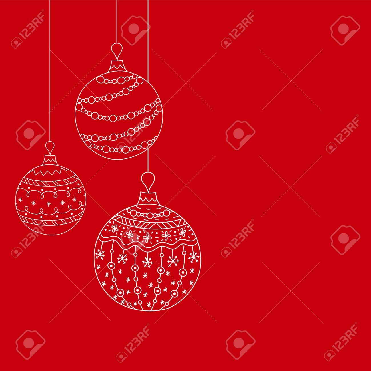 Vector Christmas Invitation Card From Three White Christmas Ball