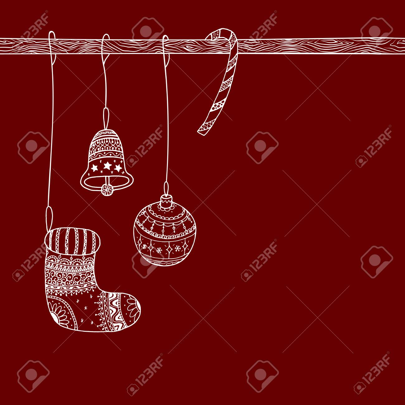 Vector Christmas Invitation Card Of Christmas Decorative Symbol