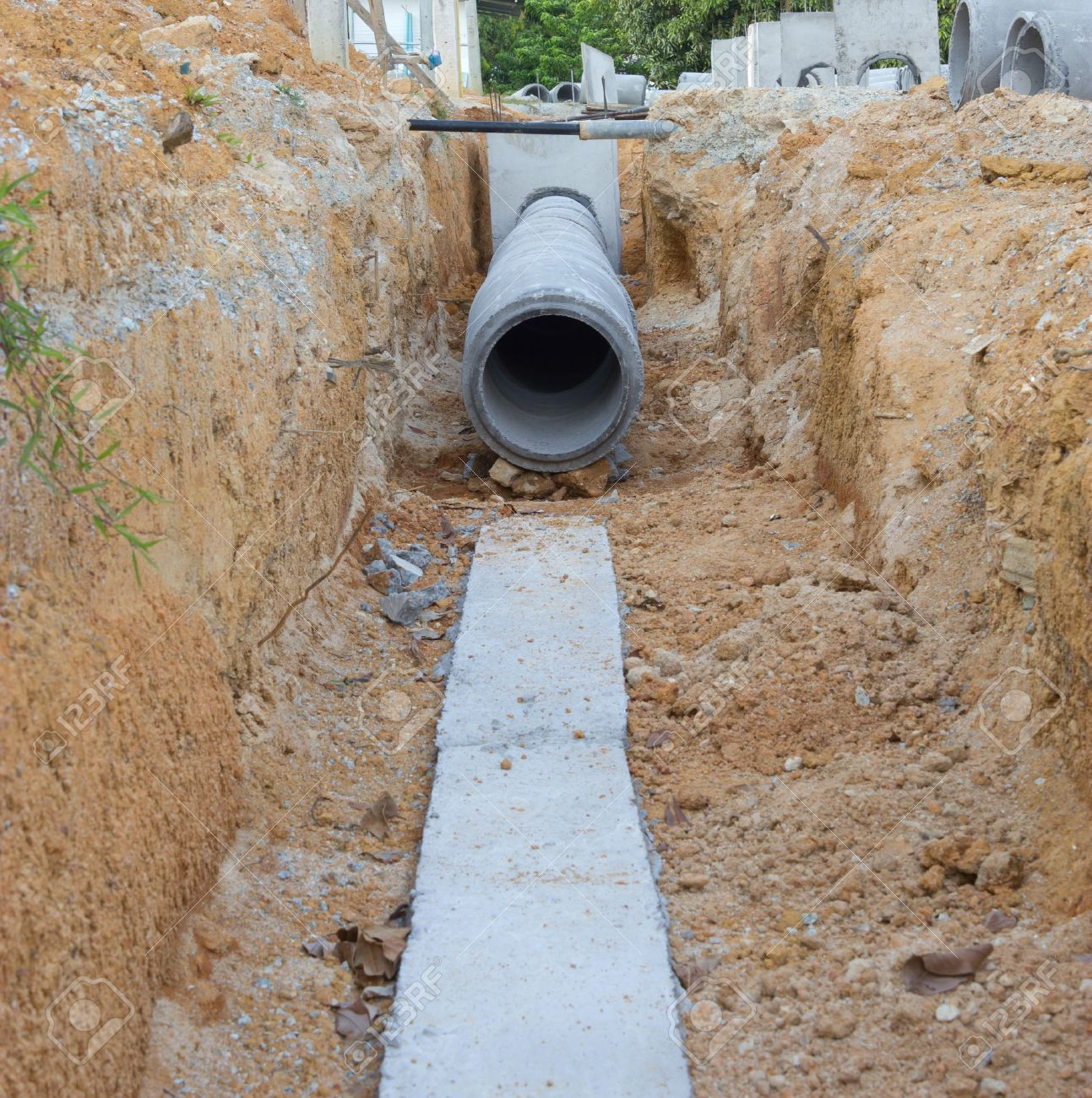 Concrete drainage tank on construction site Stock Photo - 12523642