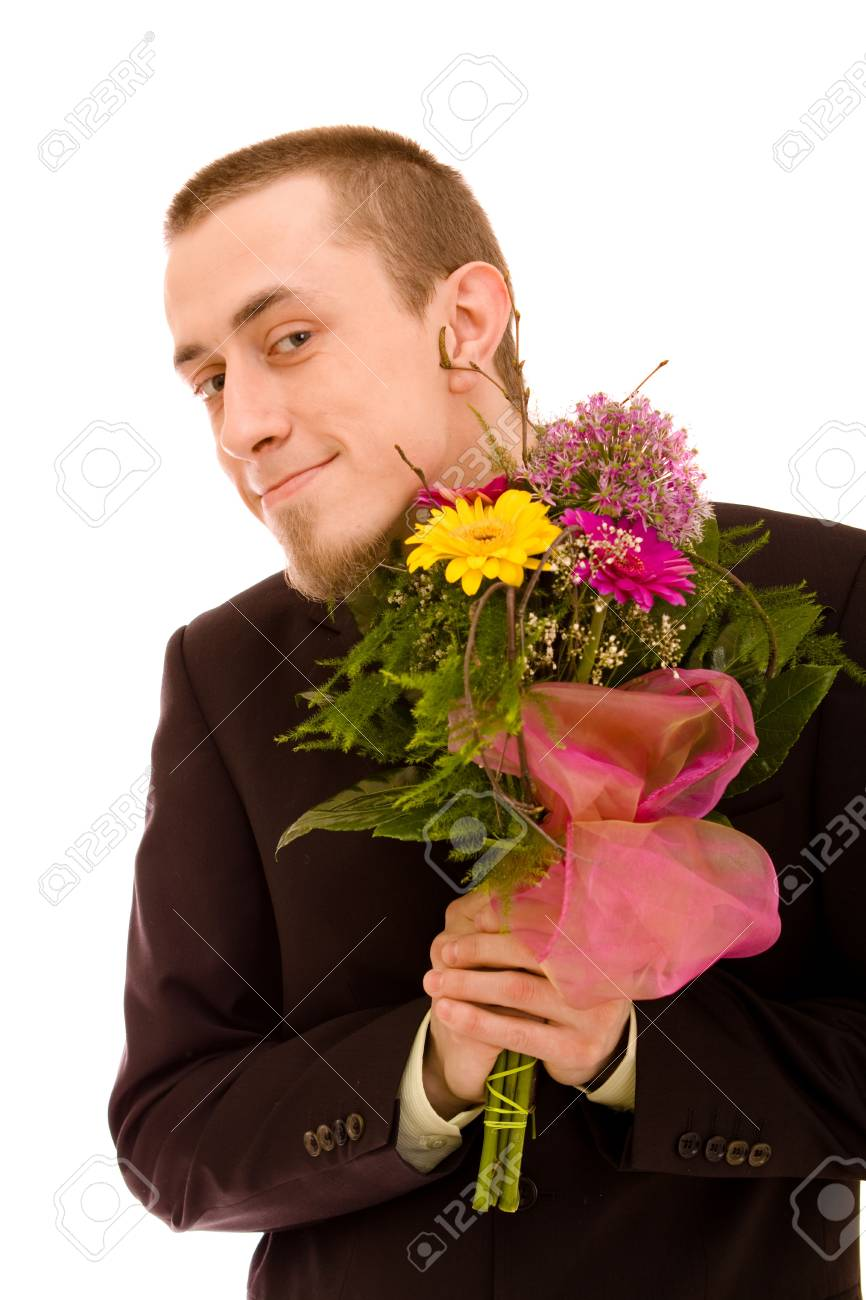 Man with flowers on white background Stock Photo - 4631853