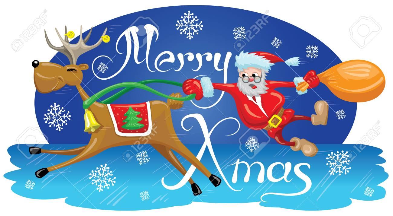 Foto Divertenti Di Buon Natale.Vettoriale Babbo Natale E Appeso Dietro Una Renna Che Corre Veloce