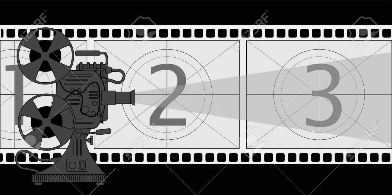フィルム映写機とスクリーンの様式化されたフィルムのイラスト素材 ...