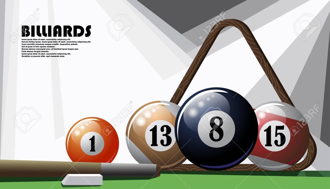 Illustrated poster on the billiard theme - 103923700
