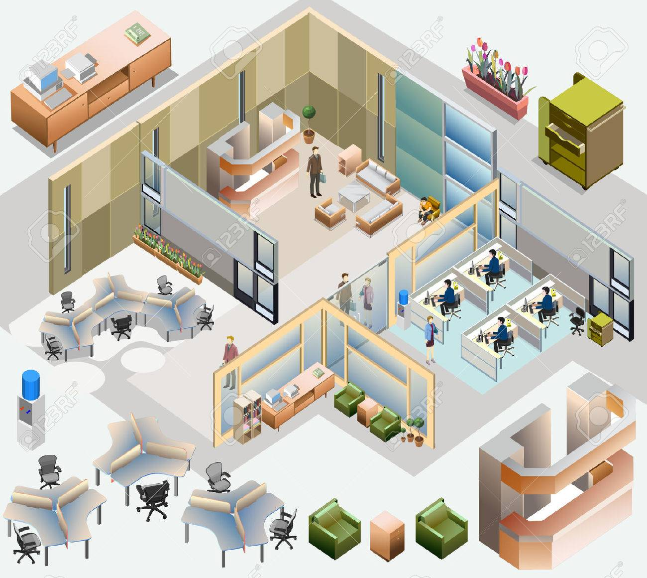 office isometric with completed workstation, meeting room, receptions, lobby, include business people, activity - 29246268