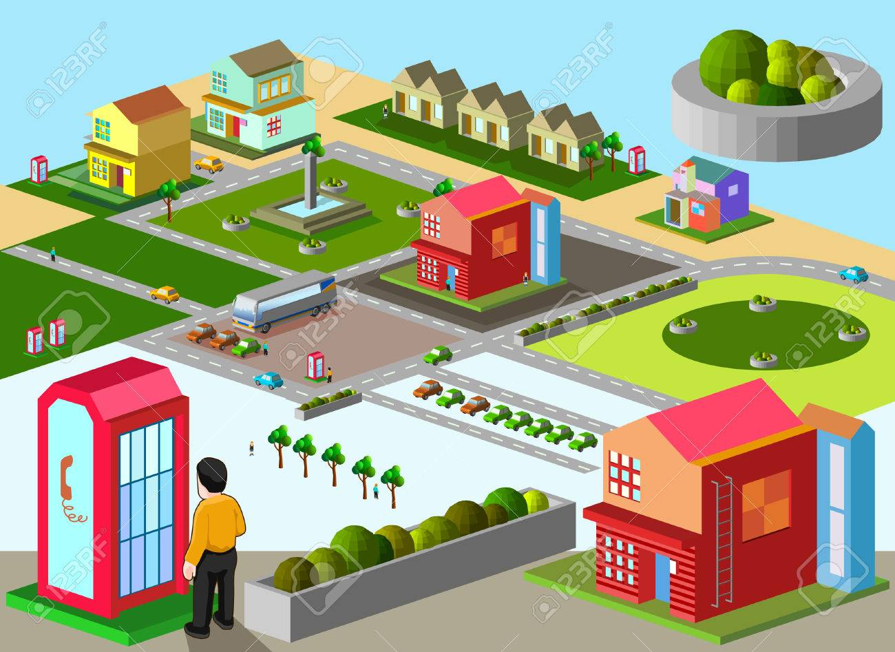 several building isometric  very detail isometric vector Stock Vector - 29246281