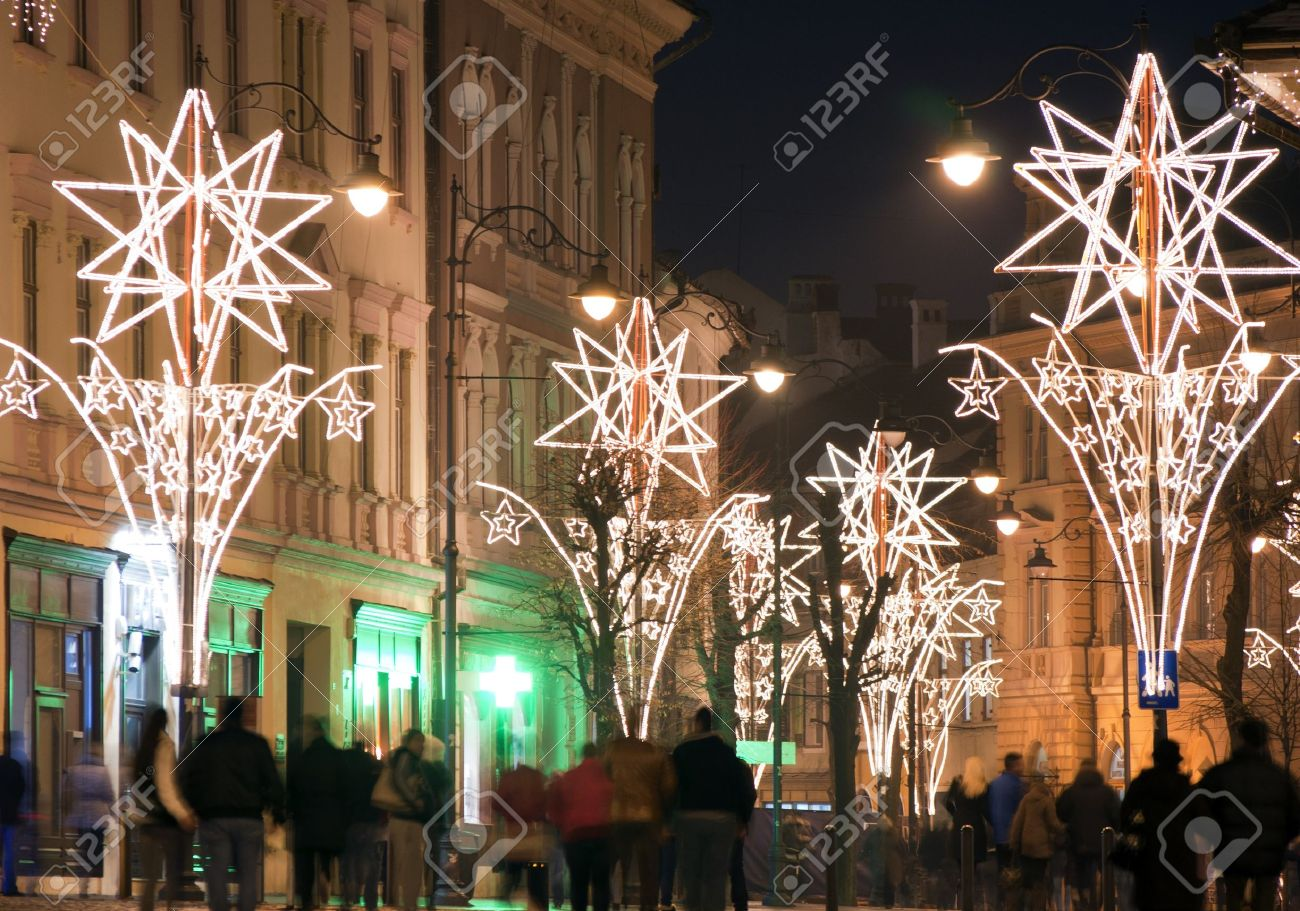 Christmas Lights On Street With People In Old Town Sibiu ...