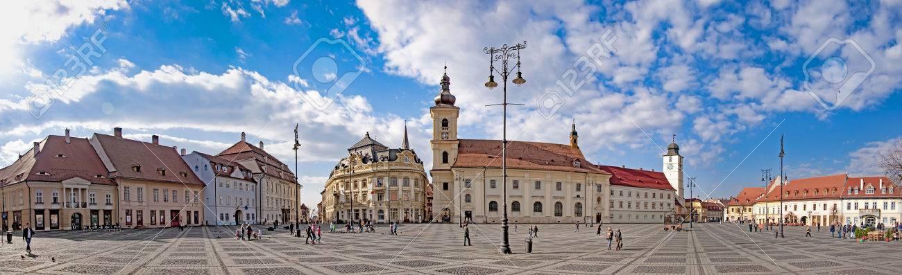 Panorama of Sibiu, Transylvania, Romania, main town square on sunny day - 57268749
