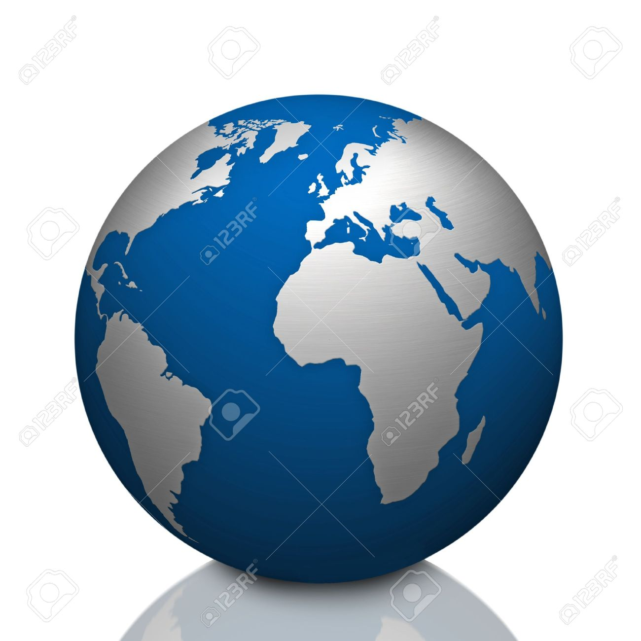 World Globe Map With Stainless Steel Symbol Stock Photo Picture And