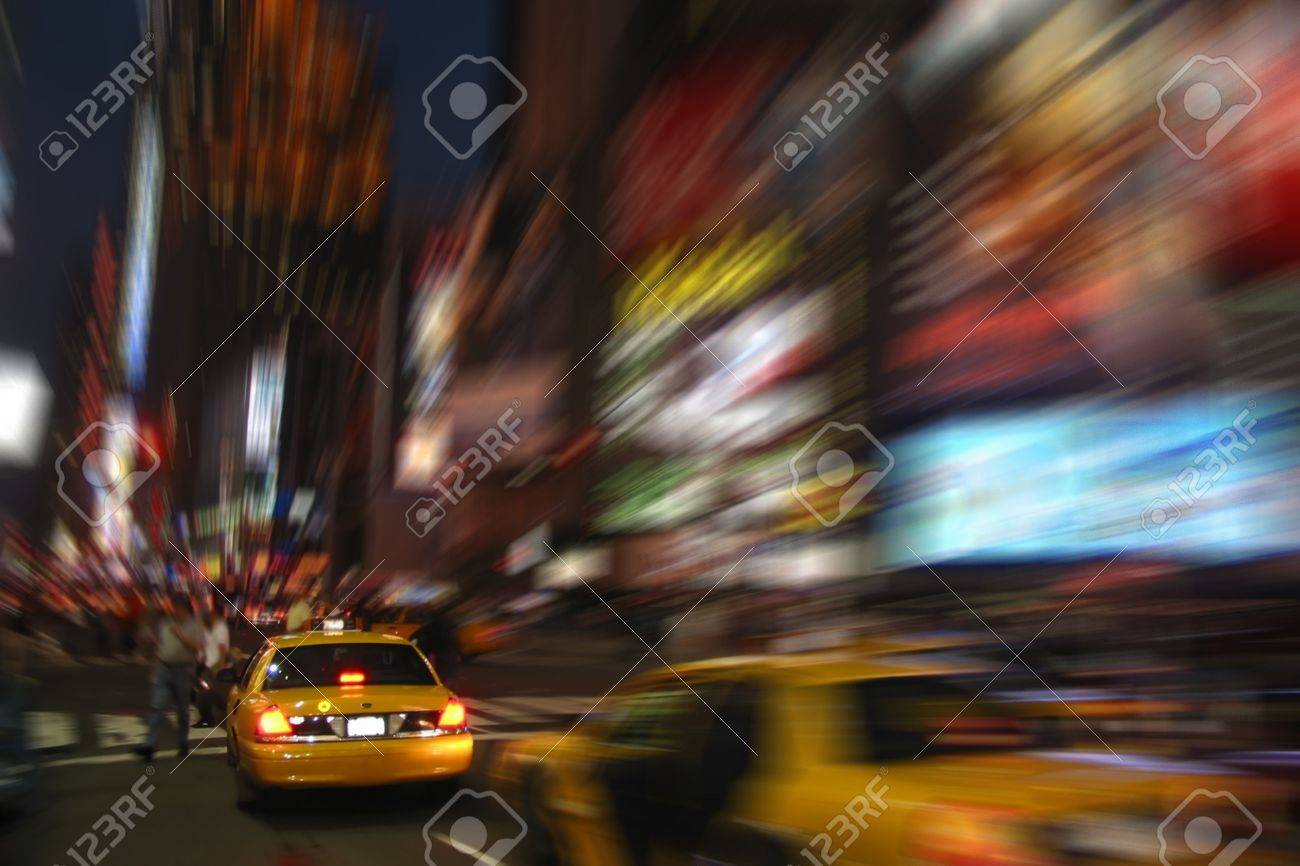New York Cab Taxi at Times Square with Blur Effect Stock Photo - 8530935