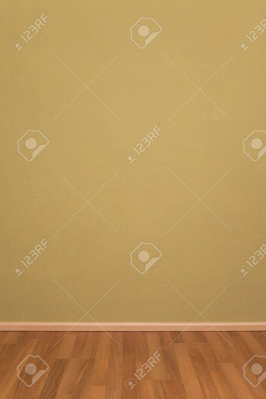 Blank Empty Grunge Room with Wallpaper and Parquet Stock Photo - 9123511