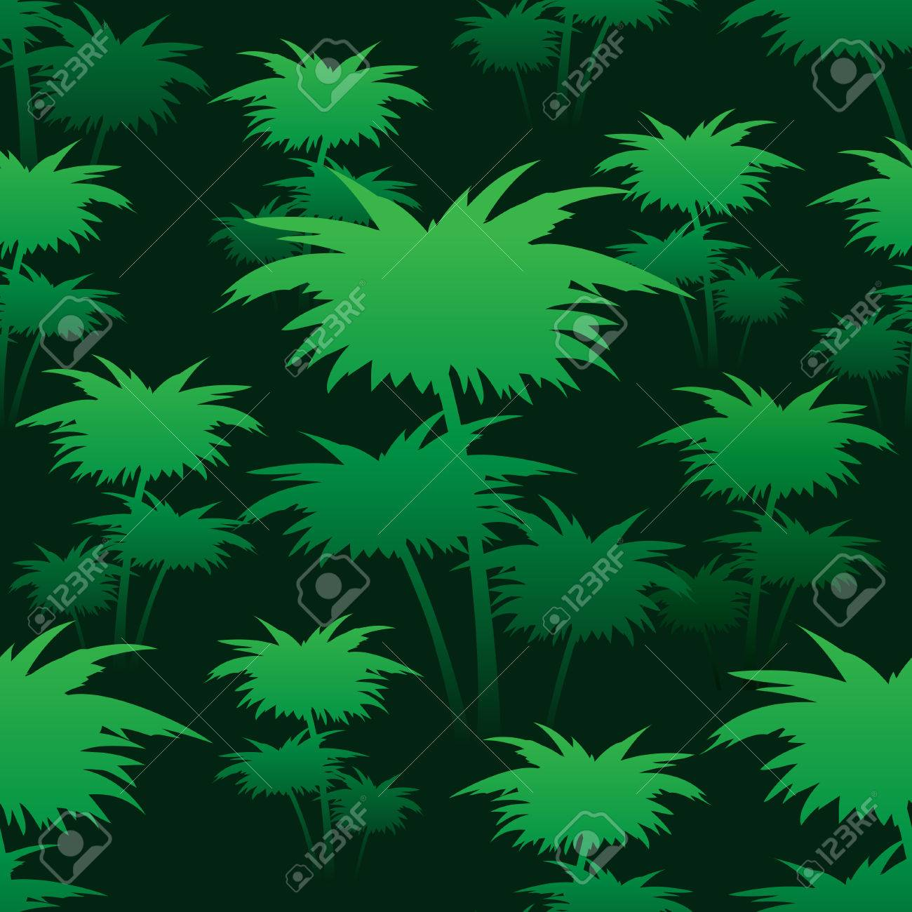 Seamless Colorful Pattern With Green Palm Trees Royalty Free ...