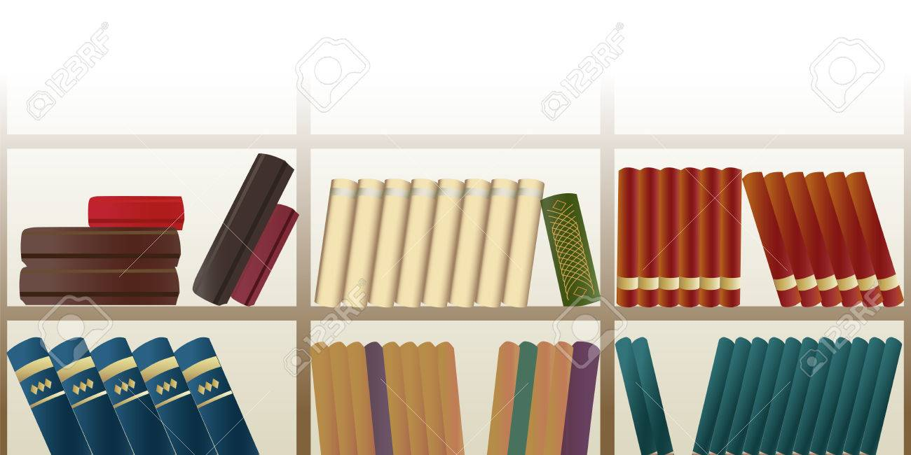 Horizontal Seamless Pattern With Retro Bookshelf Full Of Books Stock Vector