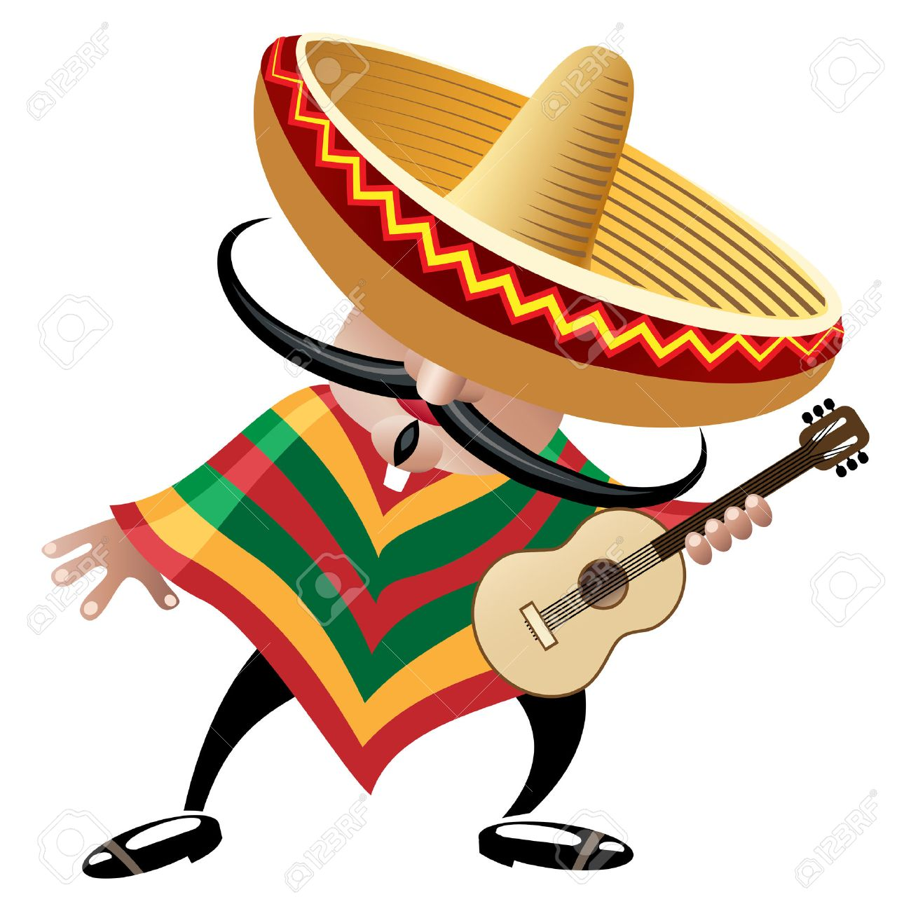 vector illustration of mexican musician in sombrero with guitar
