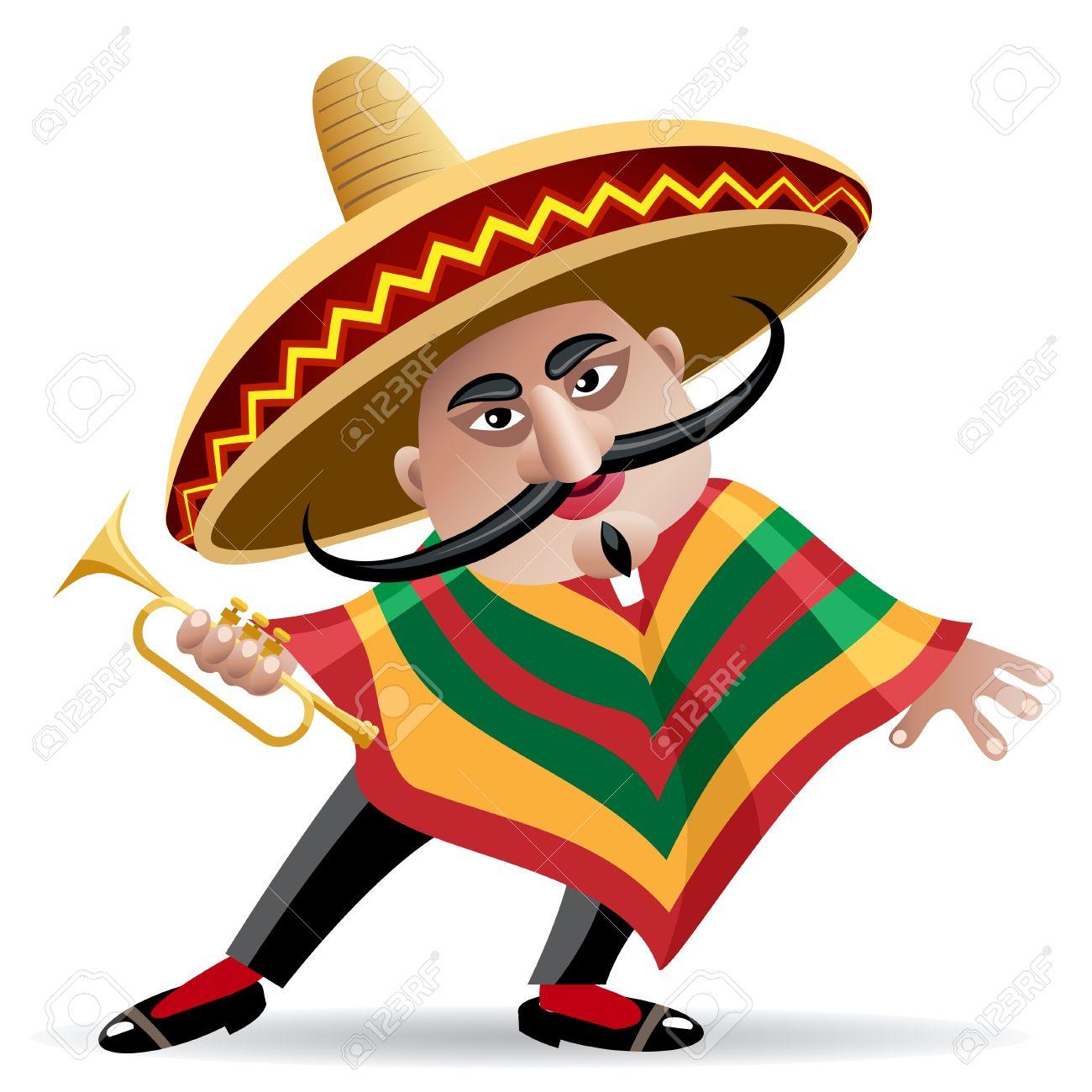 Foto de archivo - Ilustración del músico mexicano en sombrero con la  trompeta dibujado en estilo de dibujos animados ec02429d953