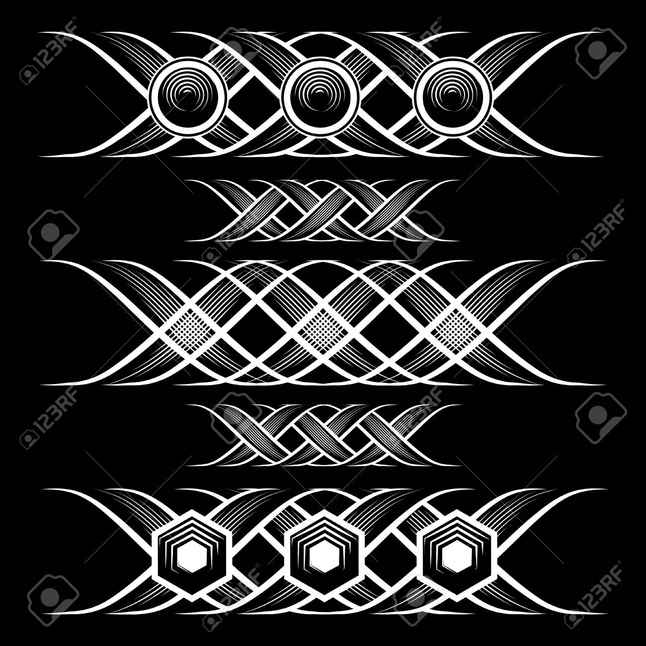 Ancient Decoration Elements In Black And White Colors Good As