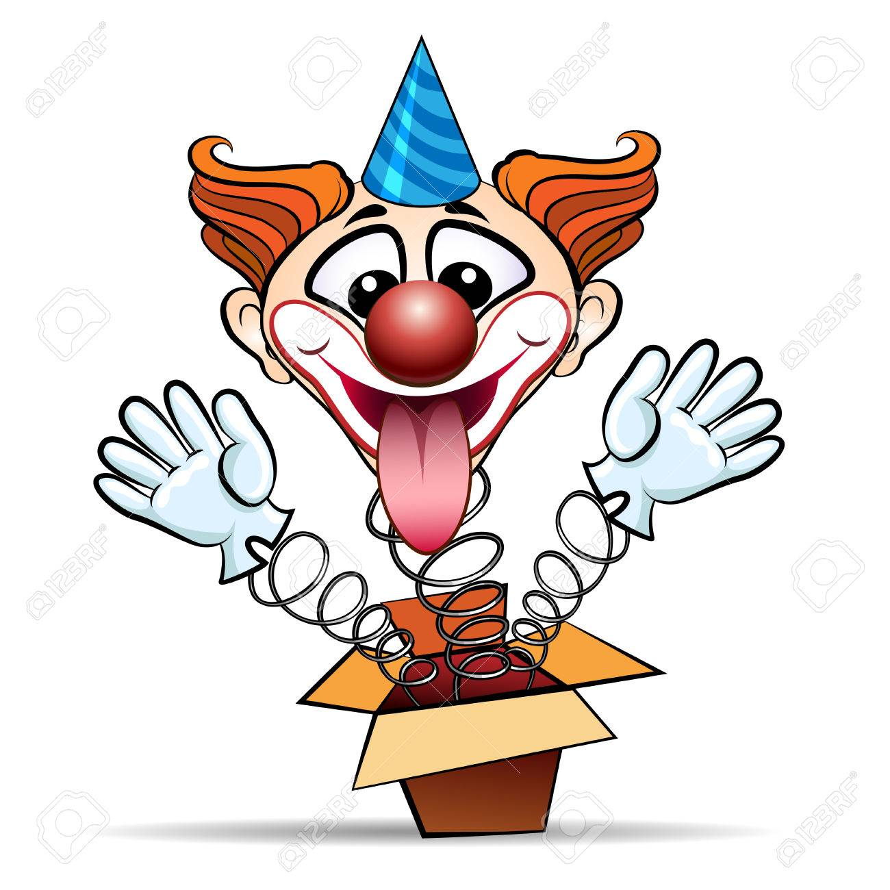 Funny illustration of laugthing clown jumps out of surprised box. Isolated on white background. - 42133284