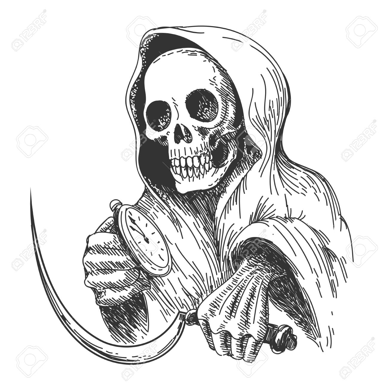 Death with sickle and pocket watch ink drawing style isolated on white stock