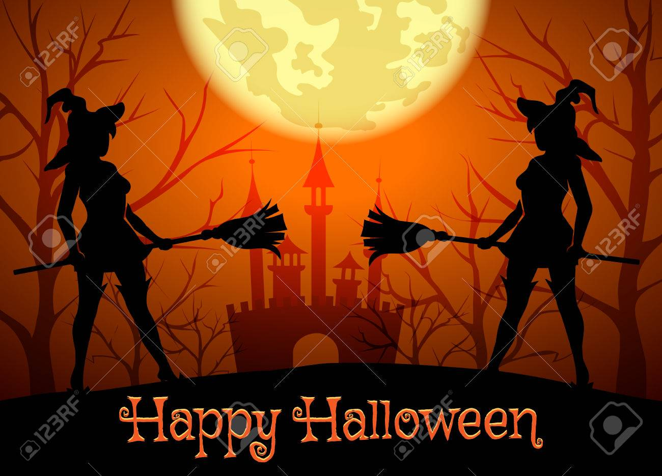 Halloween Background With Silhouettes Of Witches And Lettering ...