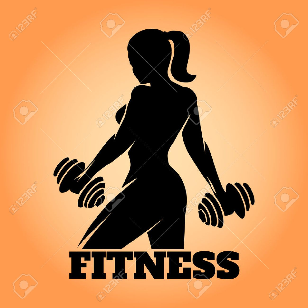 Fitness club and gym banner or poster design  Silhouette of athletic