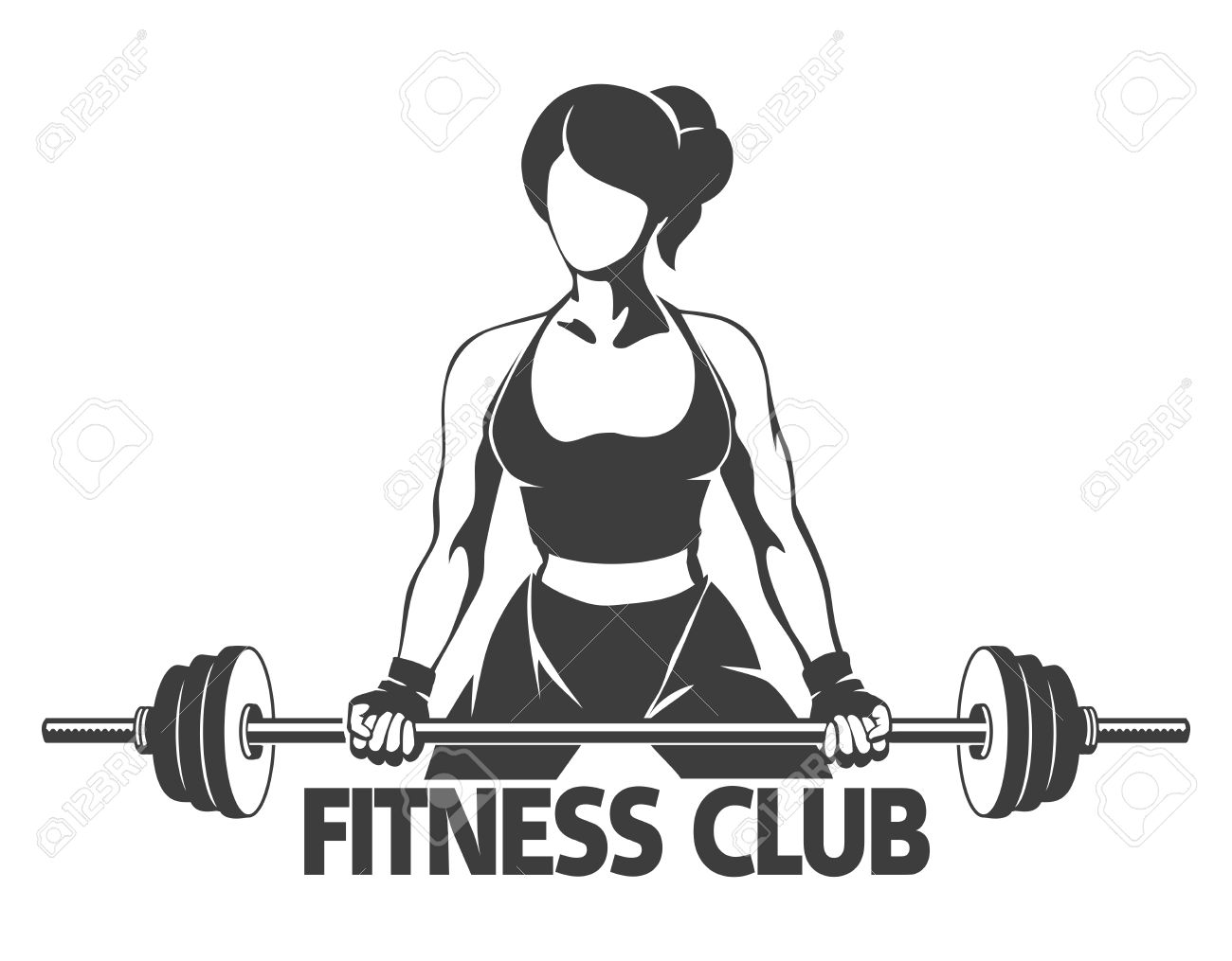 Fitness or Gym center emblem  Athletic woman silhouette with