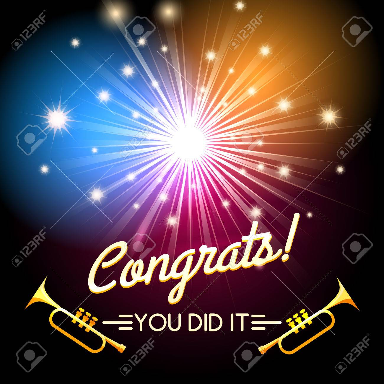 congratulations card with firework and trumpets free font used